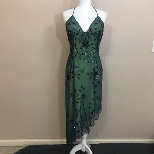 CACHE SILK EVENING GOWN blue lime sequin M
